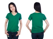 Woman in t-shirt isolated on white background Royalty Free Stock Image