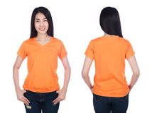 Woman in t-shirt isolated on white background Stock Image