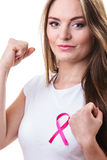 Woman in t-shirt with pink cancer ribbon isolated Royalty Free Stock Image