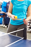 Woman with table tennis racquet. Closeup Royalty Free Stock Image