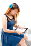 Woman with tablet Stock Photo