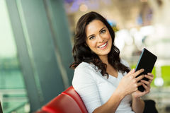 Woman tablet airport Royalty Free Stock Photo