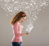 Woman with tablet Stock Image