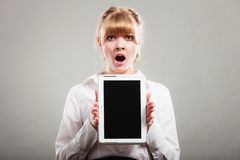 Woman with tablet. Blank screen copy space. Royalty Free Stock Images