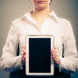 Woman with tablet. Blank screen copy space. Stock Photography