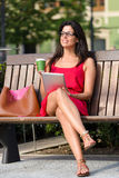 Woman with tablet and coffee Stock Photo