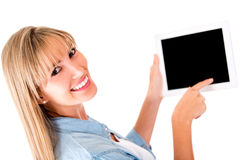 Woman with a tablet computer Royalty Free Stock Photography