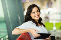 Woman tablet computer airport Royalty Free Stock Photos