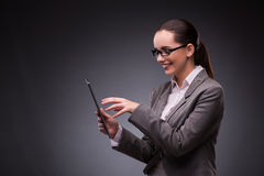 The woman with tablet computer in business concept Royalty Free Stock Photo