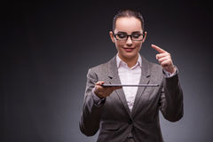 The woman with tablet computer in business concept Stock Photography