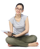 Woman With A Tablet Computer Stock Images