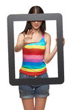 Woman with tablet frame Stock Images
