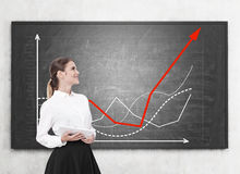 Woman with tablet and growing graphs Royalty Free Stock Photos
