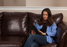 Woman with a tablet Royalty Free Stock Photography