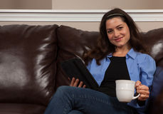 Woman with a tablet Royalty Free Stock Photo