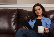 Woman with a tablet Royalty Free Stock Photos