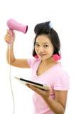 Woman with tablet makeup stock photos
