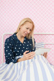 Woman with tablet Stock Photos