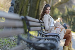 Woman with tablet in the park Royalty Free Stock Photography
