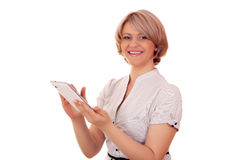 Woman with tablet pc Stock Images