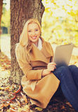 Woman with tablet pc in autumn park Stock Images
