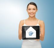Woman with tablet pc and envelope icon. Picture of beautiful woman with tablet pc and envelope icon Stock Images