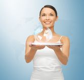 Woman with tablet pc and virtual screen Royalty Free Stock Photography