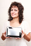 Woman with a Tablet PC Stock Images