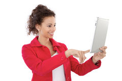 Woman with tablet PC. Young woman take a picture with a tablet PC, isolated on white Royalty Free Stock Image