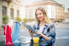 Woman with tablet Royalty Free Stock Photos