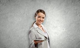 Woman with tablet Stock Images