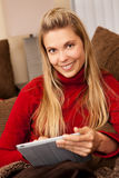 Woman tablet Royalty Free Stock Photos