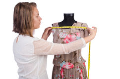 Woman tailor isolated Royalty Free Stock Photography
