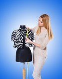 Woman tailor isolated on the white Royalty Free Stock Photos