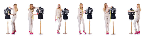 The woman tailor isolated on the white Stock Image