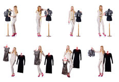 The woman tailor isolated on the white Royalty Free Stock Photos