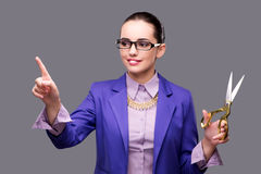 The woman tailor pressing virtual button Stock Image