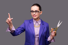 The woman tailor pressing virtual button. Woman tailor pressing virtual button Royalty Free Stock Image