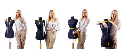 The woman tailor working on dress Royalty Free Stock Photography