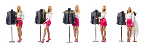 The woman tailor working on dress Stock Photography