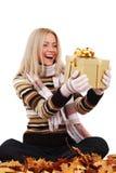 Woman take autumn gift Royalty Free Stock Images