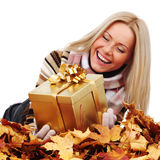 Woman take autumn gift Royalty Free Stock Images