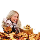 Woman take autumn gift Royalty Free Stock Photo
