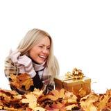 Woman take autumn gift Royalty Free Stock Photo