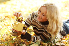 Woman take autumn gift Stock Photo