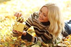 Woman take autumn gift Stock Photo