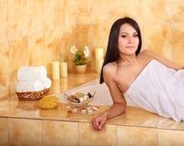 Woman take bubble  bath. Royalty Free Stock Image