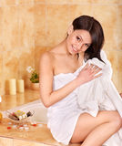 Woman take bubble  bath. Royalty Free Stock Photos