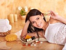 Woman take bubble  bath. Royalty Free Stock Photo