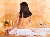 Woman take bubble  bath. Royalty Free Stock Photo